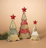 Wood Tree Figurines--Set/3
