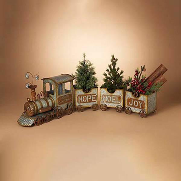 """56.5""""L Galvanized Antique Train"""