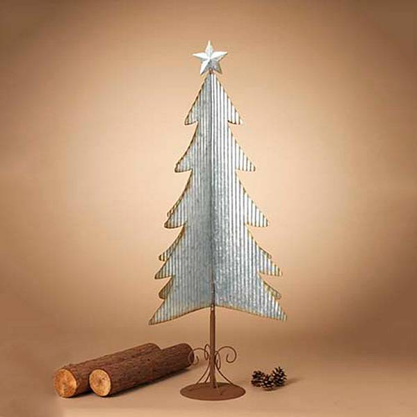 "43.3""H Galvanized Corrugated Tree"