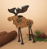 """15.5""""H Wood Moose Figurine"""