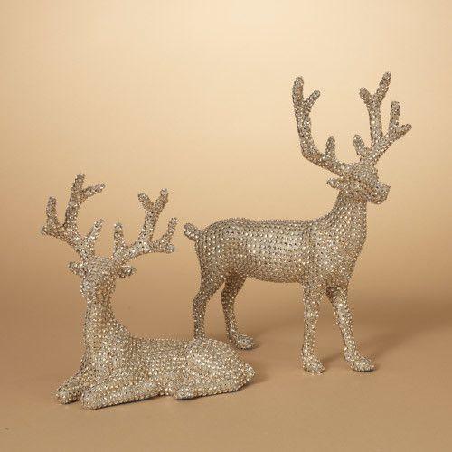 """14.5""""H Jeweled Gold Reindeer Tabletop Decoration--Set/2"""
