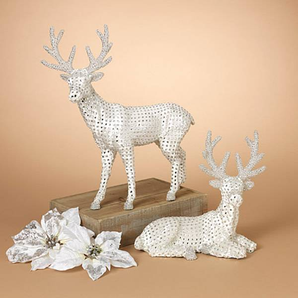 "21""H Jeweled Silver Reindeer Figurine--Set/2"