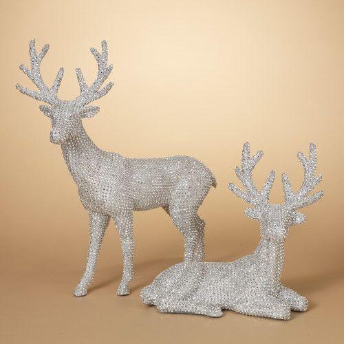 "17.7""H Jeweled Silver Reindeer Tabletop Decoration--Set/2"