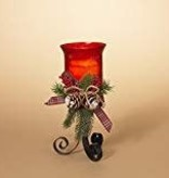 "11"" Red Crackle Glass Candle Holder"