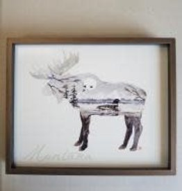 Demdaco Montana Moose Loon Silhouette Art, 10.5x8.5