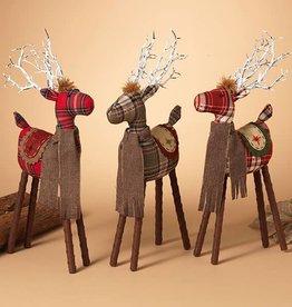 "17""H Fabric Plaid Deer--choice of one"