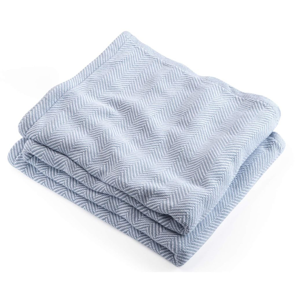 Misty Blue Herringbone Blanket