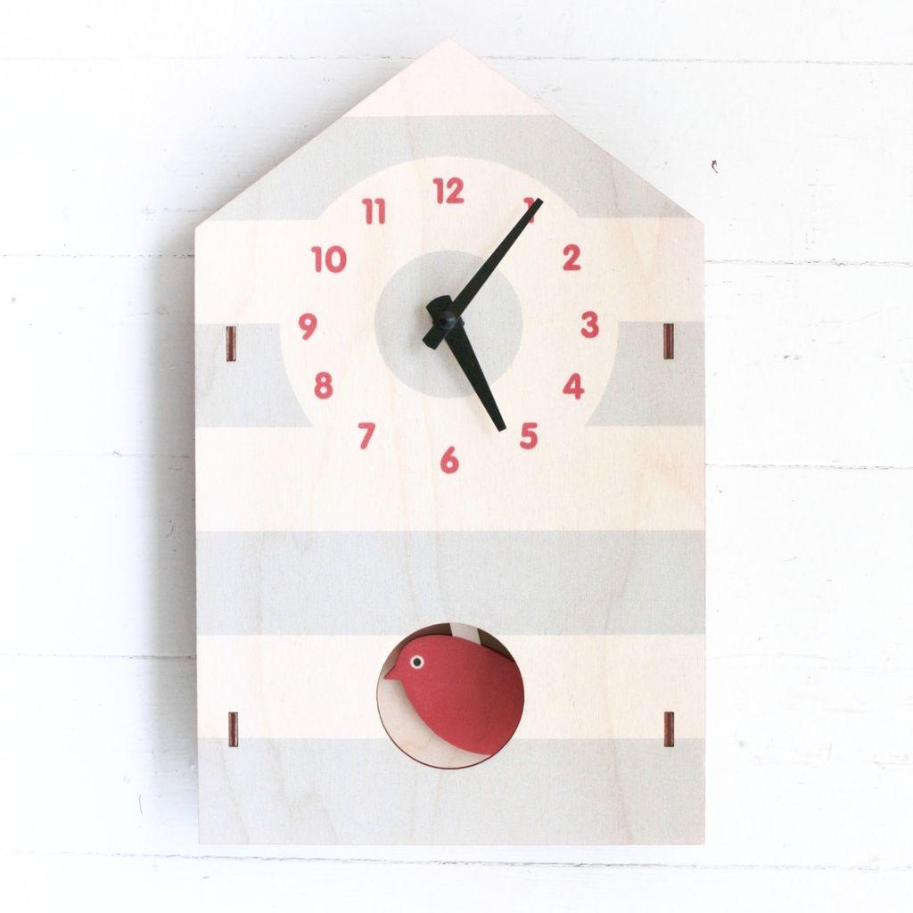 Birdhouse Red Pendulum Clock