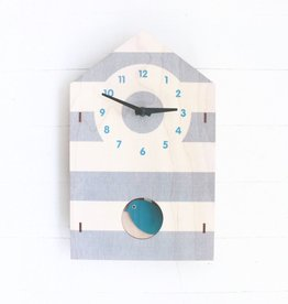 Pendulum Clock - Birdhouse Blue