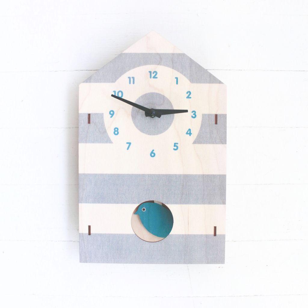 Pendulum Clock - Birdhouse Blue