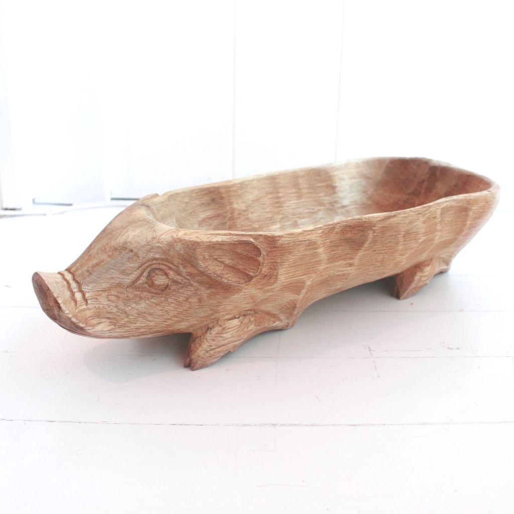 Wood Pig Bowl