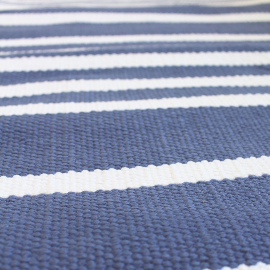 Cotton stripe rug rugs ideas for Blue and white carpet