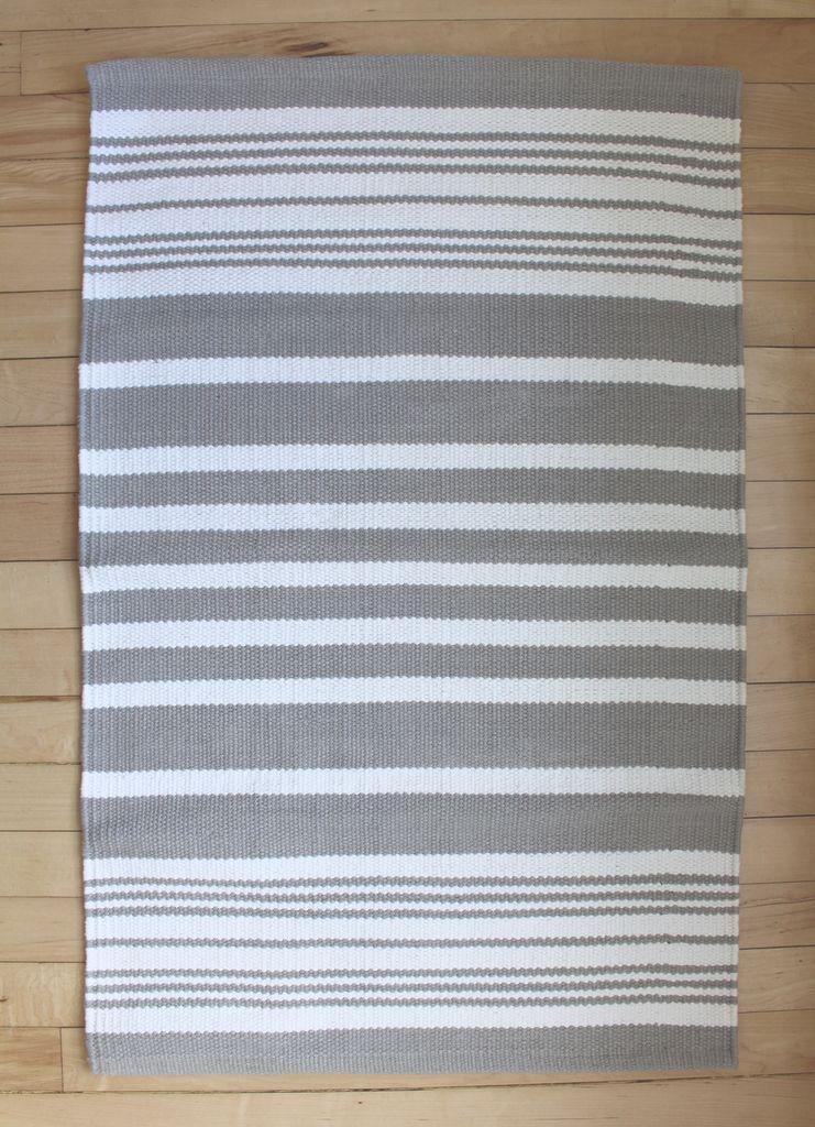 Harbor Grey Stripe Cotton Rug