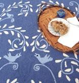 Singing Vine Blue Wool Hooked Rug