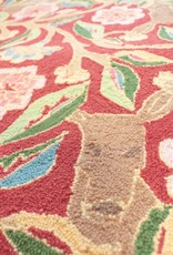 Garden Deer Red Wool Hooked Rug