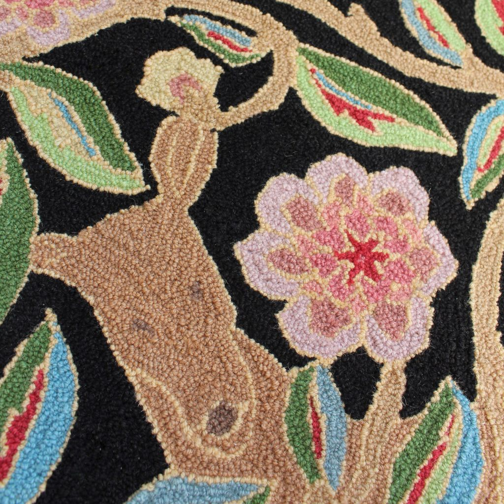 Garden Deer Black Wool Hooked Rug