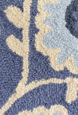 Heart Beat Blue Wool Hooked Rug