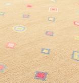 Diamond Tan Wool Hooked Rug