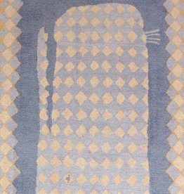 O'Whale Blue Wool Hooked Rug