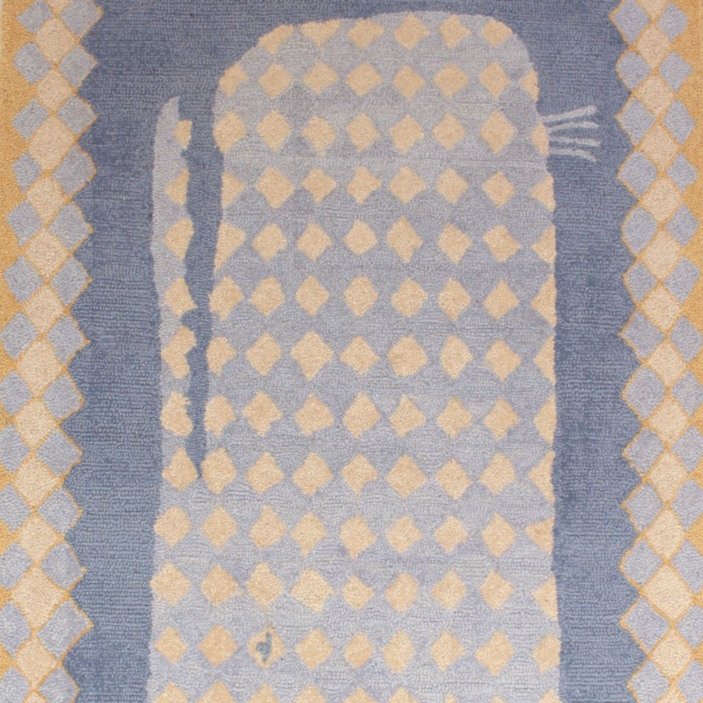 Ou0027Whale Blue Wool Hooked Rug ...