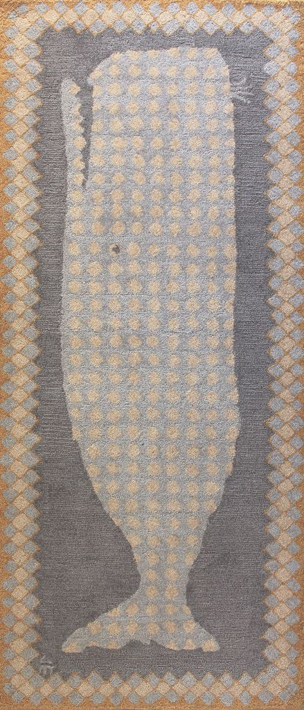 ... Rug Ou0027Whale Gray Wool Hooked ...