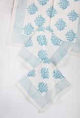 Turquoise Sea Fan Block Printed Napkin