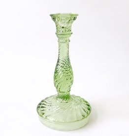 Candlestick - Twist Green Glass