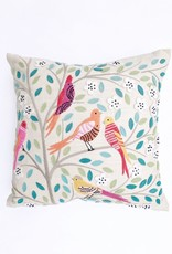 Five Birds Embroidered Throw Pillow