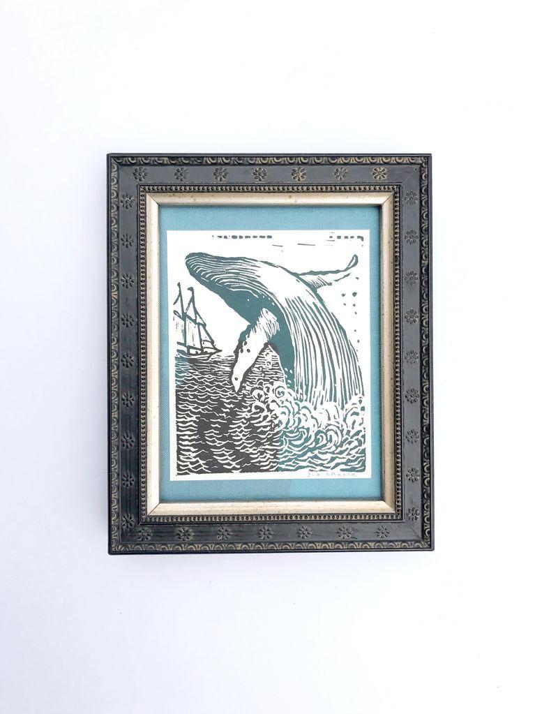 Framed Whale Blockprint