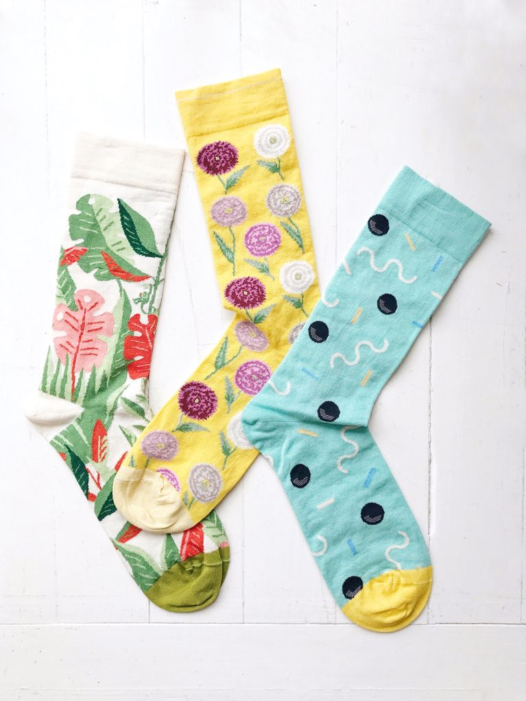 Calf Socks Peony Stripe