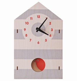 Pendulum Clock - Birdhouse Red