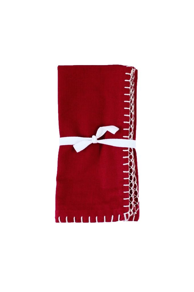 Blanket Stitch Napkins Set - Red