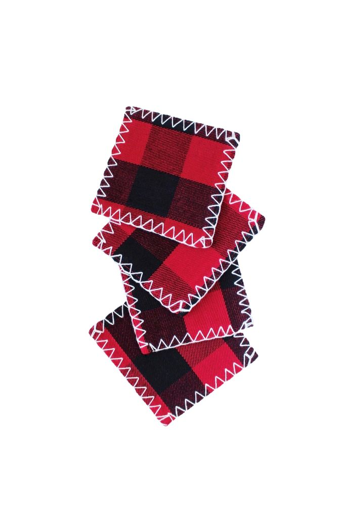Coasters Set of 4 - Red Buffalo Check