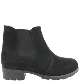 Waterproof  Black Suede Fur Lined Chelsea Paloma