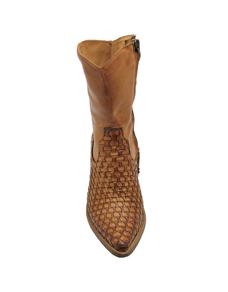 Fauzian Jeunesse Tan Woven Mid-Calf Western Boot 1281
