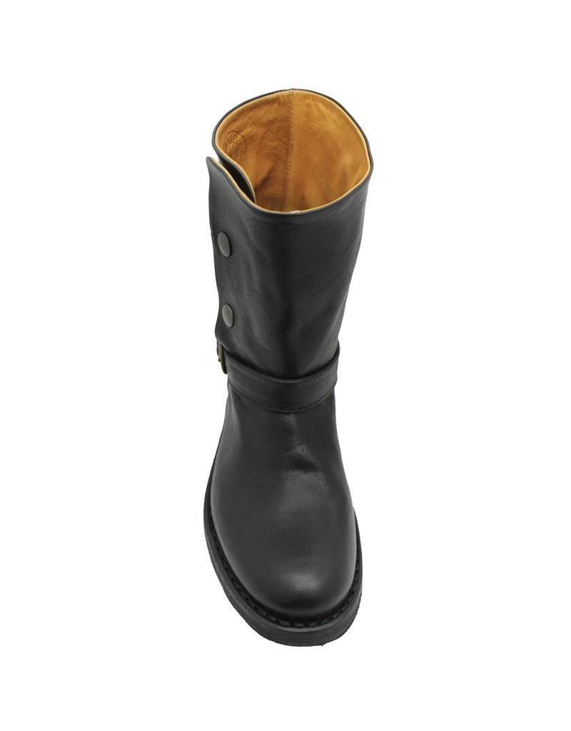 Fiorentini+Baker Fiorentini Black Buckled Boot With Snaps, Edra, BK