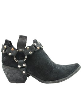 Fauzian Jeunesse Black Suede Shoe Boot With Harness 1274