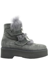 Now Now Grey Suede/Fur 2Buckle Boot 3339