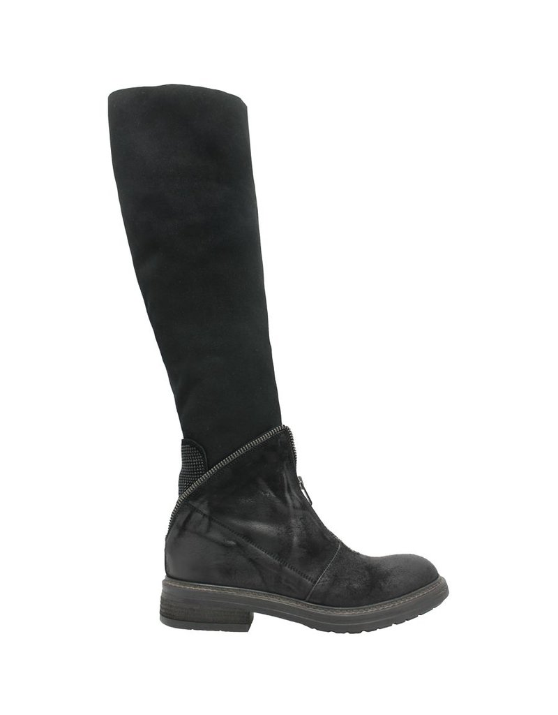 Now Now Black Front Zipper Knee Boot 3172
