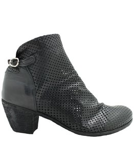 Officine Creative Black Perforated Ankle Boot Yara