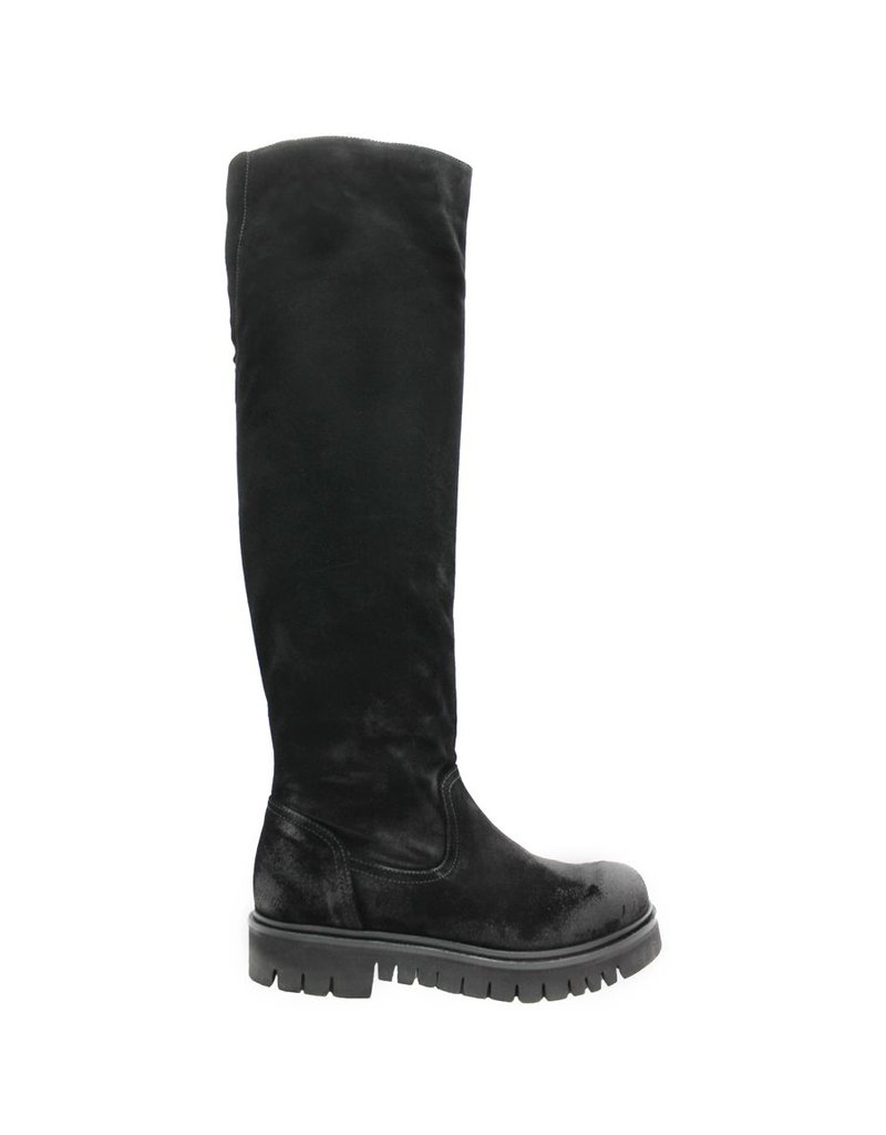 Now Now Black Suede Tread Sole Knee Boot 3125