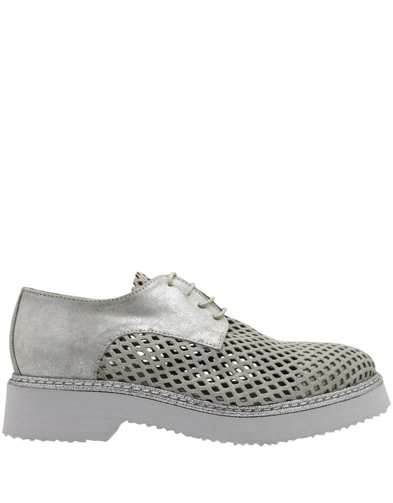 Now NOW Beige Mesh Lace Up Silver Glitter 3516