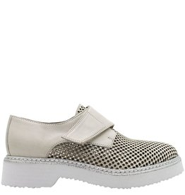 Now NOW Taupe Perforated Monk Strap Silver Glitter 3512