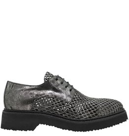 Now NOW GunMetal Mesh Lace Up Silver Glitter 3516