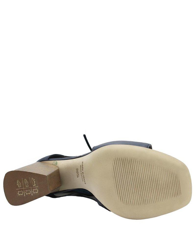 Ixos Ixos Blue High Block Heel Asymmetric Open Toe Sandal 3510