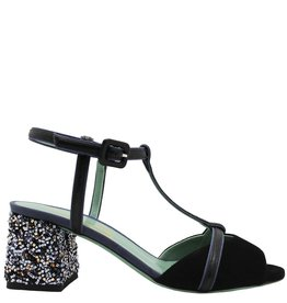 Paola d'Arcano Paola d'Arcano Black T-Strap Curly Metal Heel 1263