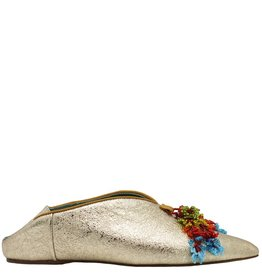 Paola d'Arcano Paola d'Arcano Gold Crinkle Moroccan Slip On 1011