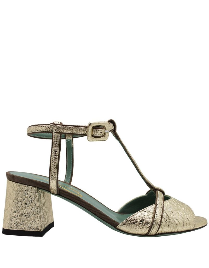 Paola d'Arcano Paola d'Arcano Gold T-Strap Sandal 1213