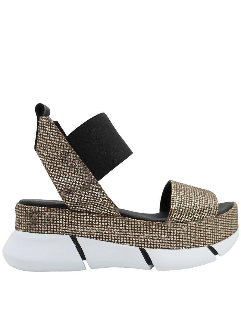 Elena Iachi ElenaIachi Gold Black Glitter Sandal 1791