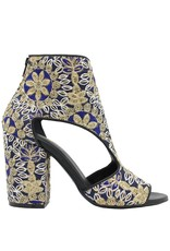 Elena Iachi ElenaIachi Blue Gold Embroidered Silk Sandal 1776